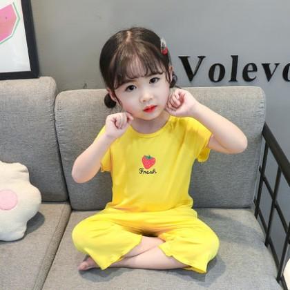 Kids Clothing Casual High Waist Pajamas Set