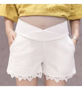Women Cute Lace Embroidered Short Pregnancy Maternity Pants