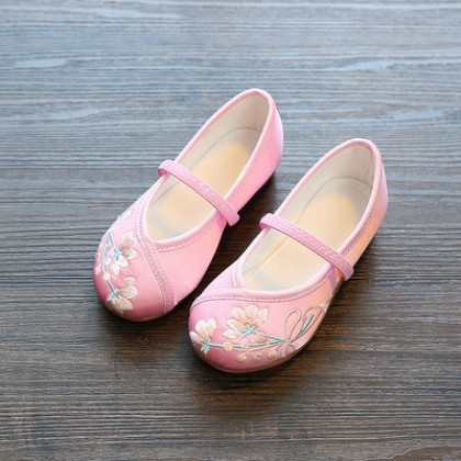 Kids Girls Embroidered Ethnic Style Student Shoes