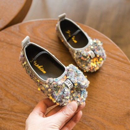 Kids Girls Princess Bow Crystal Sequins Fashion Shoes