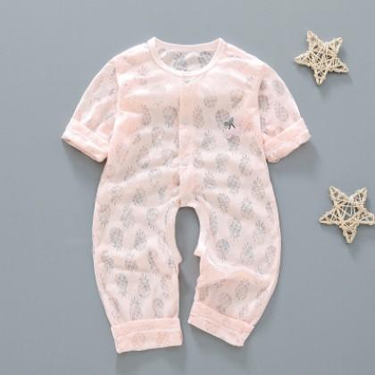 Baby Clothing Cotton Bamboo Fiber Ultra-thin Long-sleeved One-piece Pajamas