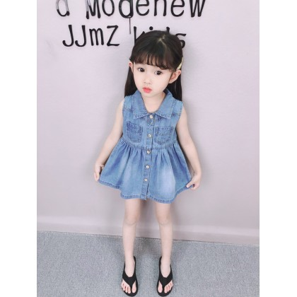 Kids Clothing Foreign Denim Princess Skirt Sleeveless Vest Dress