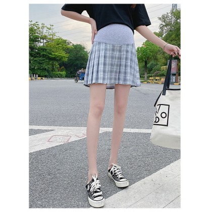 Maternity Clothing Summer Lattice Pregnant Belly Support A-line Skirt