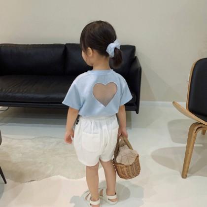 Kids Clothing Beautiful Back Hollow Heart T-shirt