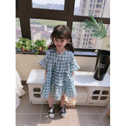Kids Clothing Comfortable Loose Cute Princess Plaid Dress