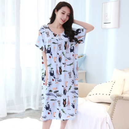 Women Animal Short Sleeve Dress Sleeping Pajamas Maternity Sleepwear