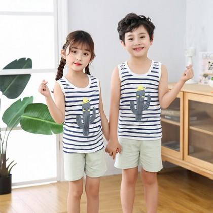 Kids Clothing Cotton Sleeveless Pajamas Suit