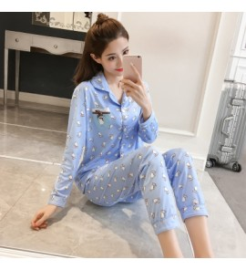Women White Cat Collar Nursing Breast Feeding Pajamas Maternity Sleepwear