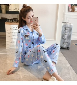 Women Kitty Collar Nursing Breast Feeding Pajamas Maternity Sleepwear