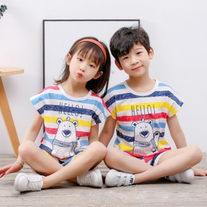 Kids Clothing Cotton Short-sleeved Patterned Pajamas Suit