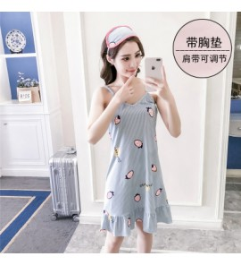 Women Strap Strawberry Sleeveless Dress Pajamas Maternity Sleepwear