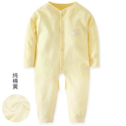 Baby Basic Color Long Sleeve Cotton Jumpsuit Rompers Bodysuit