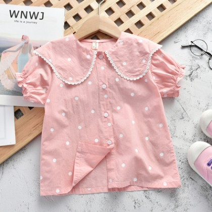 Kids Clothing Short-sleeve Western-style Polka Dot Shirt