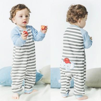 Baby Blue Elephant Long Sleeve Cotton Jumpsuit Rompers Bodysuit
