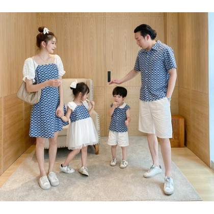 Parent Child Clothing Matching Patterned Outfit