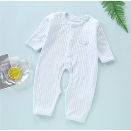 Baby Clothing Newborn Summer Long-sleeved Open File Cotton Pajamas