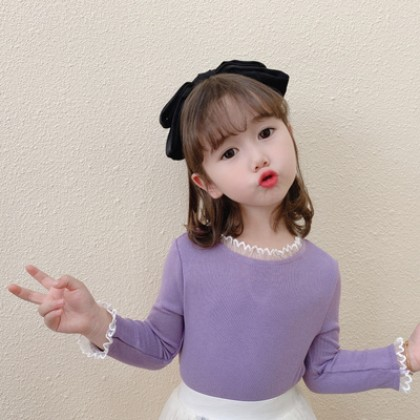 Kids New Elastic Solid Color Long-sleeved All-match Tops