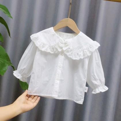 Kids Summer Cotton Lapel Baby Long-sleeve Shirt