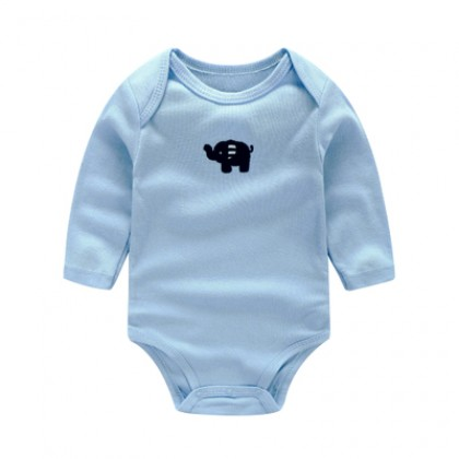 Baby Blue Elephant White Cotton Jumpsuit Rompers Bodysuit