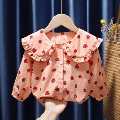 Kids Cotton Princess Style Floral Blouse Long-sleeved Doll Collar Shirt