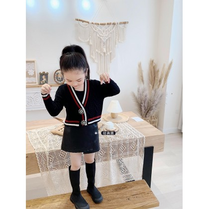 Kids All-match Black Small Leather Skirt