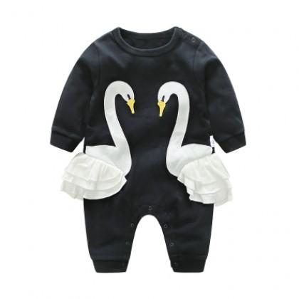 Baby Black Swam Cotton Jumpsuit Rompers Bodysuit