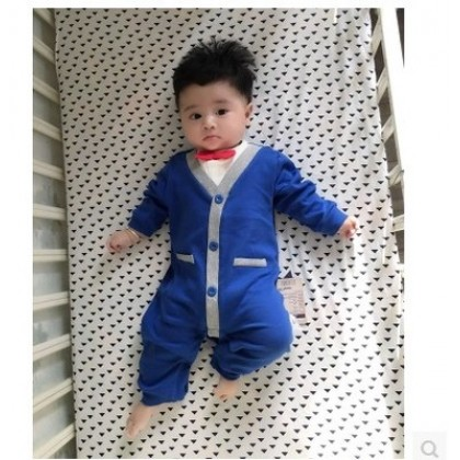 Baby Boy Blue Formal with Bow Long Sleeve Cotton Jumpsuit Rompers Bodysuit