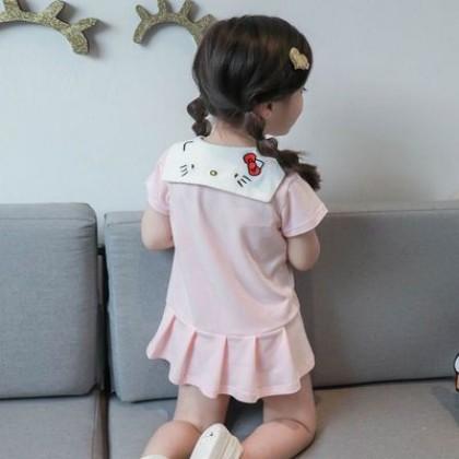 Kids Baby Princess Cartoon Cute Cotton Polo Shirt Skirt Dress