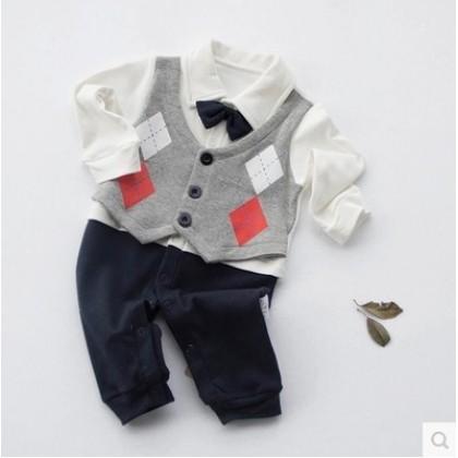 Baby Boy Diamond Rhombus Formal Long Sleeve Cotton Jumpsuit Rompers Bodysuit