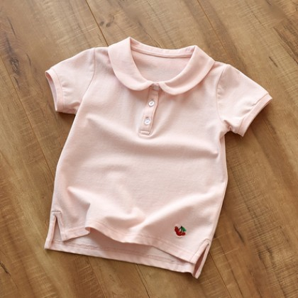 Kids Pure Cotton Short-sleeved Embroidered Doll Collar T-shirt