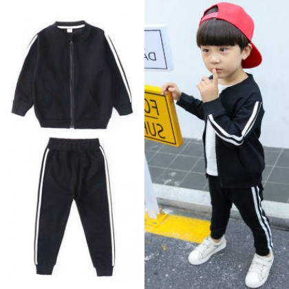 Kids Boys Cardigan Jacket Sports Two-piece Suit