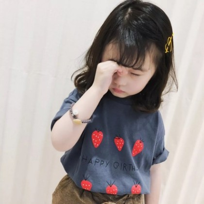 Kids Clothing New Strawberry Print Summer Short Sleeves Top