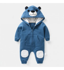 Baby Cute Hooded Hoodie Bear Ears Cotton Jumpsuit Rompers Bodysuit
