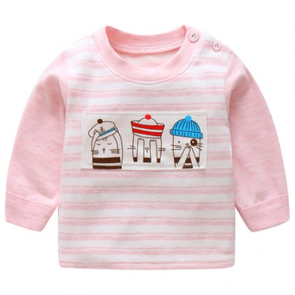 Baby Boy Girl Cute Cotton Winter Three Kitty Long Sleeve T-Shirt Tops