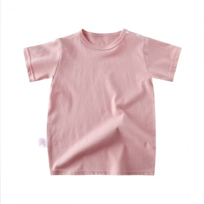 Kids Fashion Cotton Short-sleeved Solid Color Top