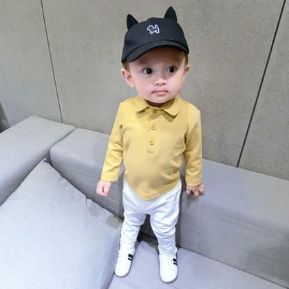 Baby Boy Girl Cute Plain Color Polo Collar Long Sleeve T-Shirt Tops