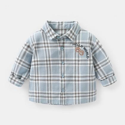 Kids Boys Baby Plaid Long Sleeve Shirt