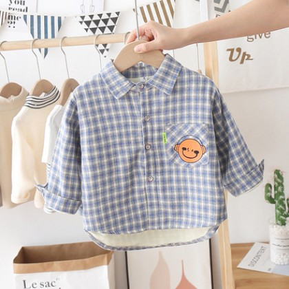 Kids Boys Baby Plaid Long Sleeve Shirt Smiling Face Print