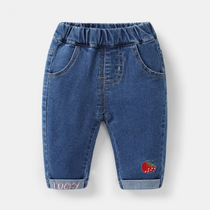 Kids Boys and Girls Cute Cartoon Printed Denim Long Pants