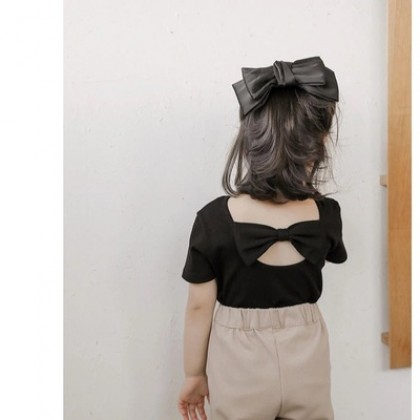 Kids Girls Short-sleeve Beautiful Back Bow Top