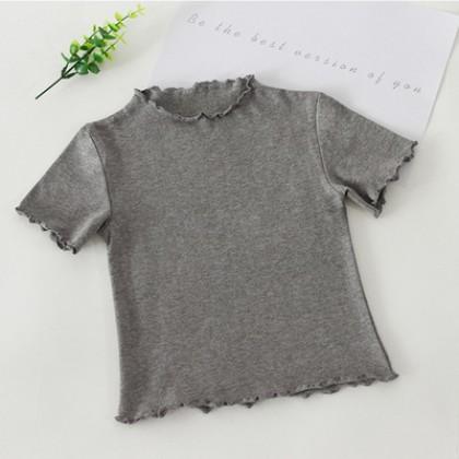 Kids Girls Short-sleeve Summer Wavy Edges Comfortable Casual Shirt