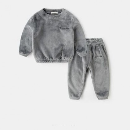 Kids Boys Coral Fleece Two-piece Pajamas Suit