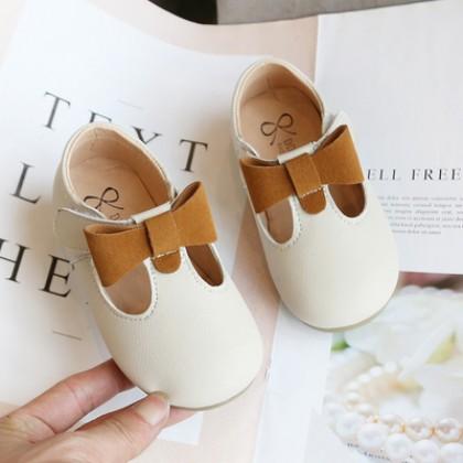 Kids Girls Korean Style Bow Princess Leather Peas Shoes