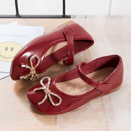 Kids Girls Soft Sole Small Leather Casual Doll Shoes