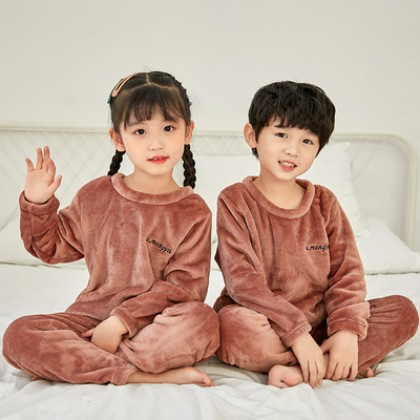 Kids Boys and Girls Thick Coral Fleece Warm Home Suit