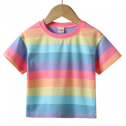 Kids Clothing Short-sleeved Casual Rainbow Shirt