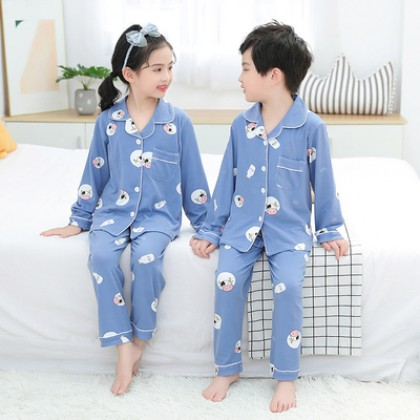Kids Boys and Girls Pure Cotton Long-sleeve Cute Home Service Pajama Suit