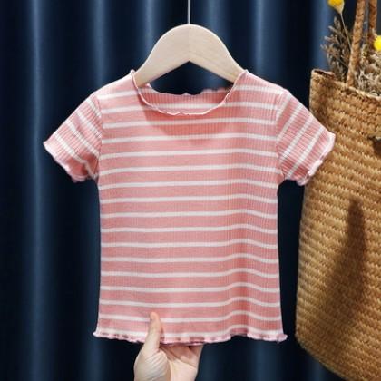 Kids Clothing Girls Baby Short-sleeved Summer Thin Striped Shirt