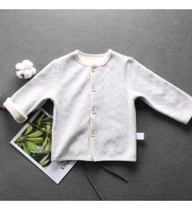 Baby Girl Boy Cute Simple Basic Cotton Grey Wave Long Sleeve Jacket Cardigan