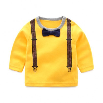 Baby Boy Cute Gentlemen Formal Bow Tie Long Sleeve T-Shirt Tops